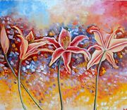 Andnbsp Oriental Lily. Palette Knife Oil Painting 50x60cm. 20x24 Inch