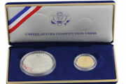 Us Constitution Coins Silver Dollar And Gold Five Dollar Coin Set Proof Coa 1987