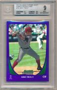 Mike Trout 2011 Bowman Chrome Draft 101 Rc Purple Refractor Angels Bgs 9 Mint