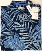 Tommy Bahama Short Sleeve Silk Shirt Men Floral Through The Fronds Blue New 135