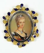 Vintage European 18k Gold And Enamel Pendant With Hand Painted And Jeweled Lady