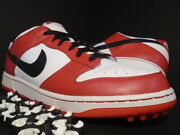 Nike Sb Dunk Ng Low Golf Cleat Spikes Chicago Bull Red White Black 484294-106 13