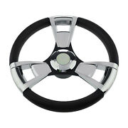 Abs 350mm 13.8 Inch Polished 3-spoke 3/4 Marine Steering Wheel Fit For Boat