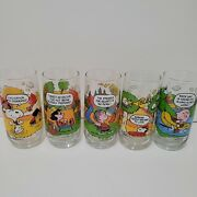 Vintage 1960s Mcdonalds Camp Snoopy Glasses Lot Of 5 Htf 65,68and71