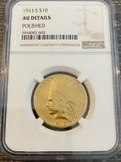 Avc - 1913-s 10 Gold Indian Eagle Ngc Au Details - 60,000 Minted