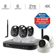 New Swann 4k Dvr Security Kit 8 Channel W/ 6 Cameras 150 Ft Night Vision White