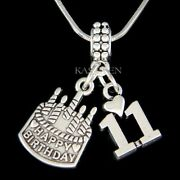 11th Birthday Girl 11 Years Old Heart Daughter Jewelry Charm Bracelet Necklace