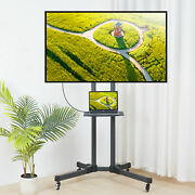 Rolling Tv Cart With Wheels Floor Stand For 32-70 Inch Lcd Led Flat Screen Tvs