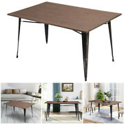 Farmhouse Dining Table Bamboo Tabletop Dining Kitchen Room Furniture Metal Feet