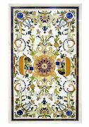 30 X 48 Inches Marble Restaurant Table Marquetry Art Dining Table Top For Decor
