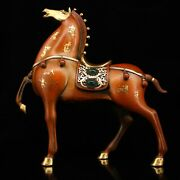 12and039 Old Chinese Feng Shui Bronze Gilt 24k Gold Gem Steed Robust War Horse Statue