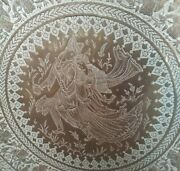 Antique Middle Eastern Silver Inlay Large Brass Signed 32 1/2 Round Tray