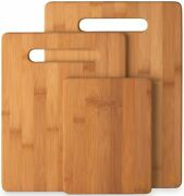 3-piece Bamboo Cutting Board Set - Wooden Kitchen Boards For Food Prep And...