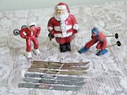 Vintage Barclay Lead Winter Figures 2 Skiers And Santa Claus