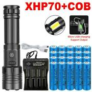 990000lm 7mode Xhp70+cob Led Flashlight Usb Rechargeabletorch+ Battery + Charger