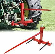 3 Point Tractor Trailer Hitch Quick Attach 49'' And 17'' Hay Bale Spear Category 1