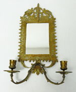 Antique German Winged Beast Brass Double Candle Holder Mirror Wall Sconce