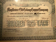 171 1918 Mayflower Old Colony Copper Company Mining Stock Certificate