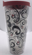Tervis Travel Tumbler 24oz Swirl Scroll Hot/cold Insulated Cup Red Lid + Straw