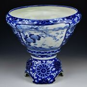 Japanese Blue And White Imari Fine Quality Punch Bowl With Fish 19th Century