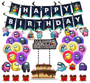 Among Us Birthday Party Decorations Set Include Balloons Cake Topper Banner