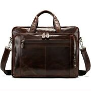 Men Leather 15 Inch Laptop Bag Documents Bags Travel Male Business Briefcases