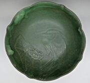 American Arts And Crafts King Fisher Art Pottery Bowl Owens Rare Bowl Thick Glaze