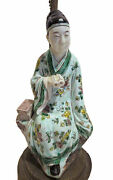 Chinese Porcelain Figures Lamps Antique Famille Verte 19th Century - Qing