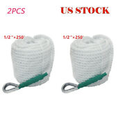 2pcs 1/2and039and039andtimes250and039 Twisted Three Strand Boat Anchor Mooring Rope Line W/ Thimble