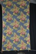 Old Fabric Large Lot Floral Cotton Not Bark Cloth Blue Pink Depression 1920