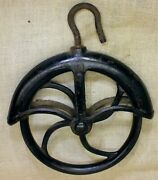 """Old Well Fender Pulley 9"""" Large 1880's Vintage Rustic Iron 10 Barn Find Black"""