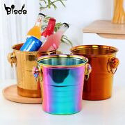 Ice Bucket Gold Ice Holder Container Scoops Whiskey Beer Ice Chiller Cooler Bar