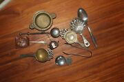 Antique English Tea Infuser Strainer Sugar Shaker Tongs Silver Plate Lot