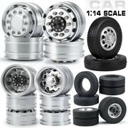 Front Rear Metal Wheel Rim + Rubber Tyres Tires For 114 Tamiya Rc Tractor Truck
