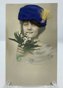 Hand-colored Real Photo Art Deco Lady W Real Hair Appliquandeacute Postcard