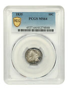 1835 10c Pcgs Ms64 - Lovely Type Coin - Bust Dime - Lovely Type Coin