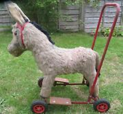 Rare Vintage Deans Push A Long Donkey On Wheels  Used Condition