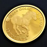 Pure Gold Coins Tuvalu Horse Coin 1/10 Oz Horses Issued By The Government
