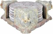 Soapstone Absorbent Coasters With Holder For Drink Farmhouse Parties, Pool