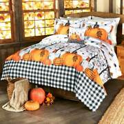 Plaid Pumpkin Country Comforter Fall Leaves Harvest Thanksgiving Bedroom