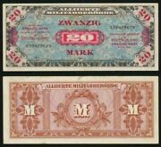 1944 Wwii Germany Allied Occupation Military Currency 20 Mark Banknote Pick 195b