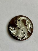 Antique Vintage Large Picture Button Cut Steel Victorian Mop Carved Shell Dragon