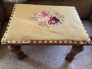 Antique Country Needlepoint Foot Stool Vintage Cross Stitch Step Stool Wood