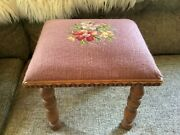 Antique Needlepoint Foot Stool Vintage Cross Stitch Step Stool Wooden