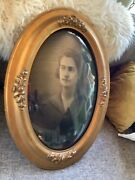 Antique Vtg Gold Gilt Wood And Gesso Oval Convex Bubble Glass Picture Photo Frame
