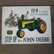 Vintage John Deere Step Up To Farming Ease Tin Sign 16 Inch X 12 1/4 Inch 5