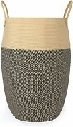 Large Woven Laundry Hamper,bedroom Wicker Thickened Collapsible Brown And Black
