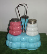 Eapg Victorian 4pc Cased Glass Shaker Set On Base With Handle