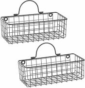 Dii Z02023 Rustic Farmhouse Vintage Hanging Wall Mounted Wire Metal Basket, Set