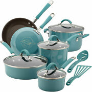 Rachael Ray Cucina Nonstick Cookware Pots And Pans Set 12 Piece Agave Blue R25g